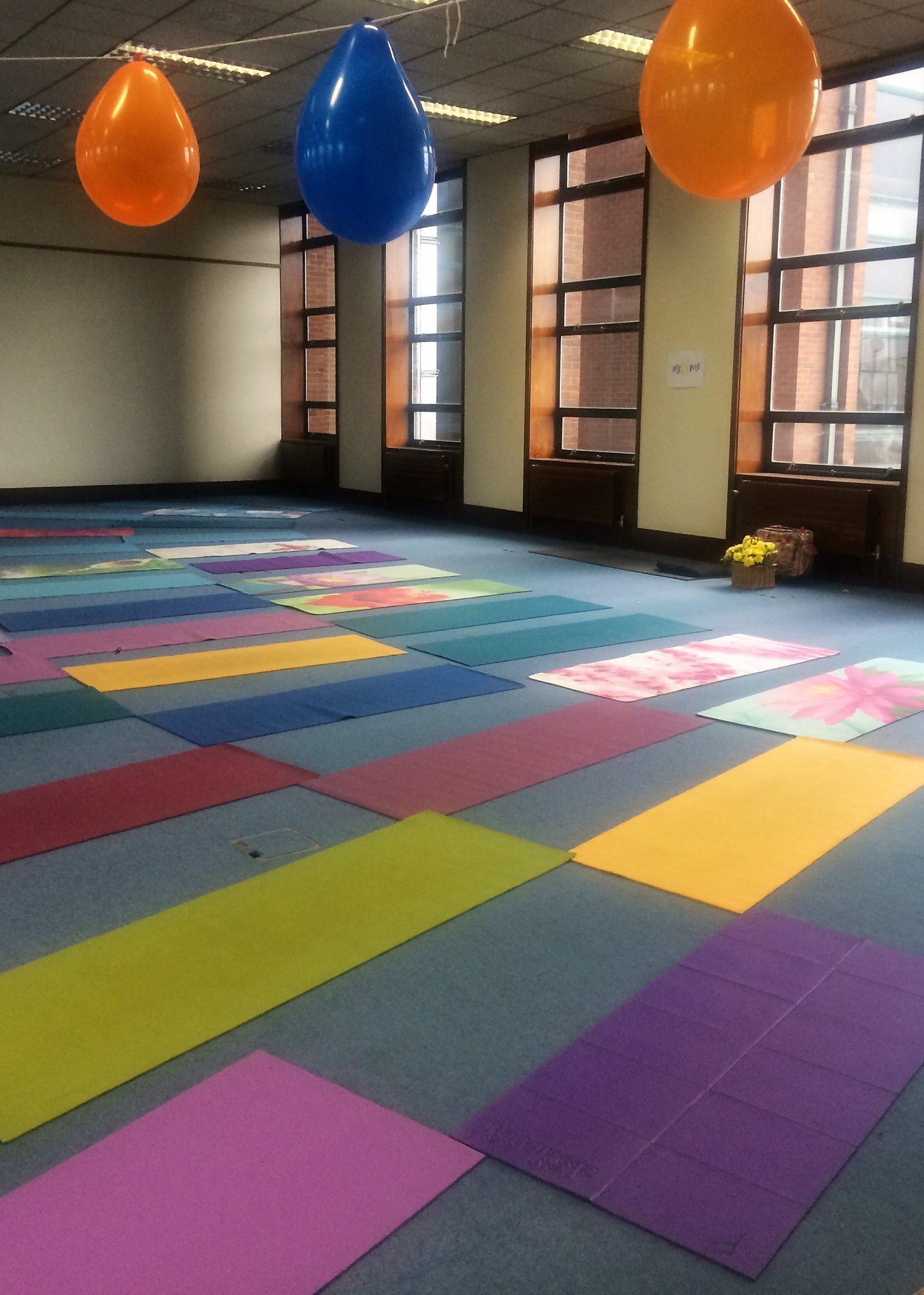 colourful Yoga mats for a Yoga party